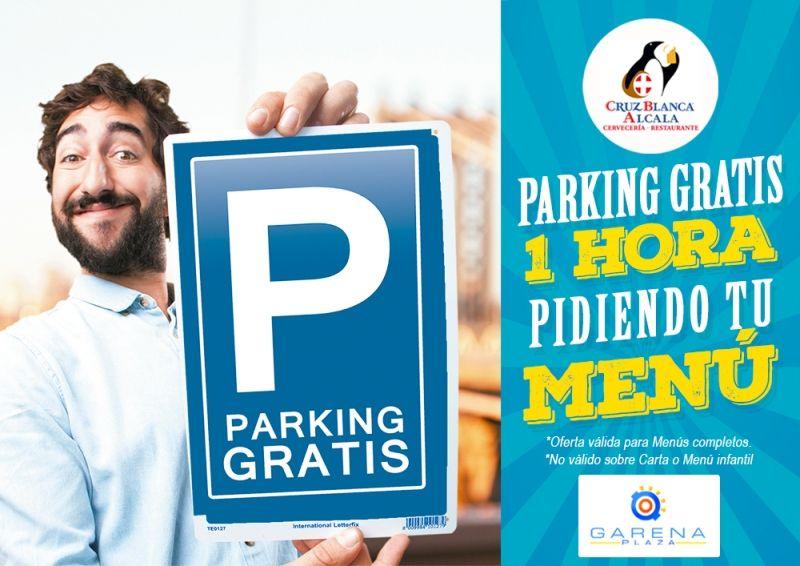 1h de parking gratis al pedir cualquier menú en Cervecería Restaurante Cruz Blanca Alcalá