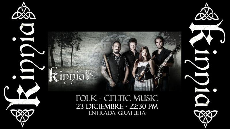 El día 23 de Diciembre 2017 en Temple Bar Street concierto de Kinnia, folk y música Celta