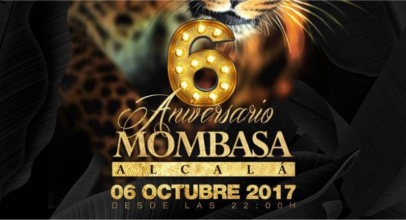 El 6 de Octubre del 2017 celebramos el 6º aniversario de Mombasa Alcalá desde las 22:00h
