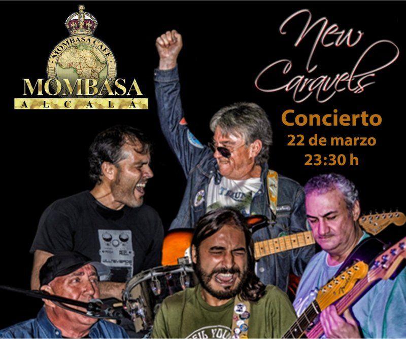 ¡Disfruta de las mejores versiones de Pop-Rock de los 60's y 70's con el concierto de New Caravels! ¡Os esperamos en Mombasa Alcalá el viernes 22 de marzo a las 23:30!