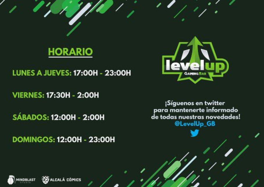 Horarios LevelUp Gaming Bar